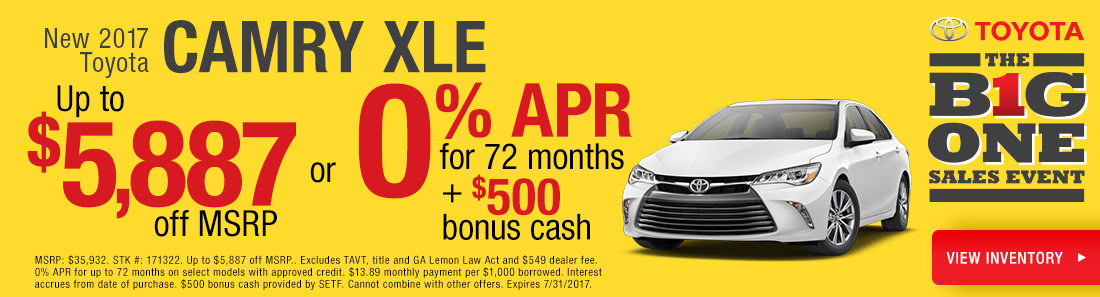 0% APR on New Camry Models