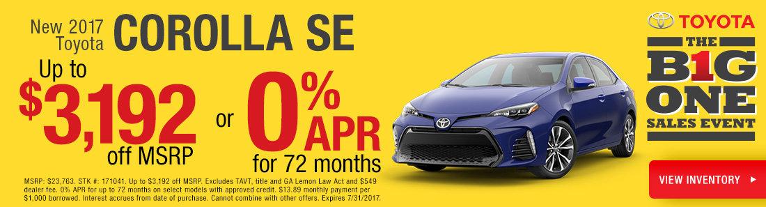 0% APR on New Corolla Models