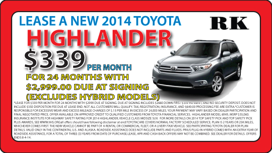 The new Highlander is at RK Toyota in Hampton, VA. Find out how you could save money on a new vehicle today!