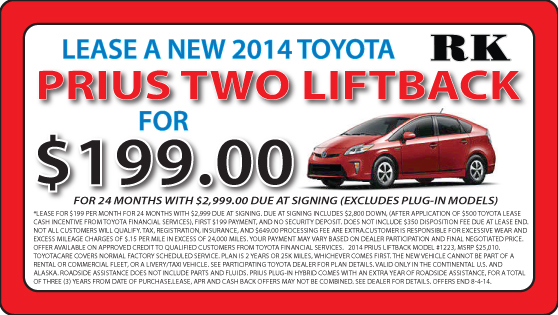 Lease a new Prius Two today at RK Toyota in Hampton, VA.