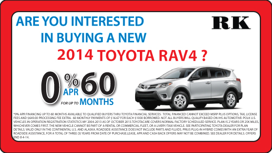 You may qualify for exclusive savings at RK Toyota on the new RAV4!