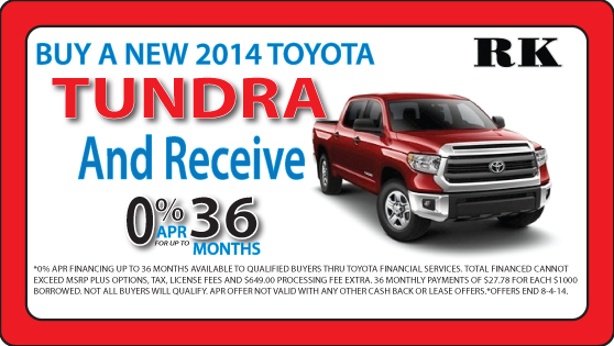 Exclusive savings are available on the new Tundra at RK Toyota in Hampton, VA!
