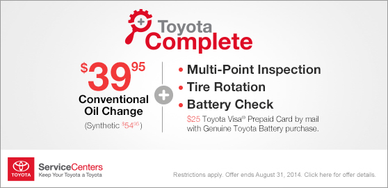Toyota Complete - $39.95 for a conventional oil change + battery check, tire rotation, & multi-point inspection! Click here to book your appointment at RK Toyota today!