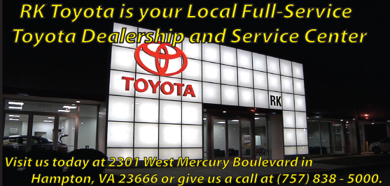 RK Toyota is located at 2301 West Mercury Boulevard in Hampton, VA 23666. Come see our extensive new Toyota inventory today!