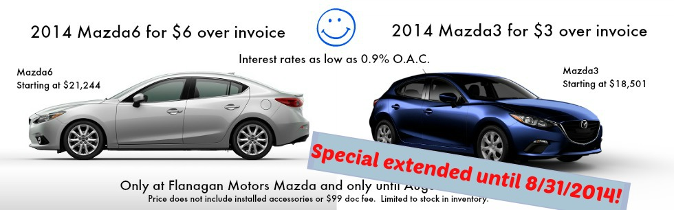 2014 Mazda3 $3 over invoice and 2014 Mazda6 $6 sale