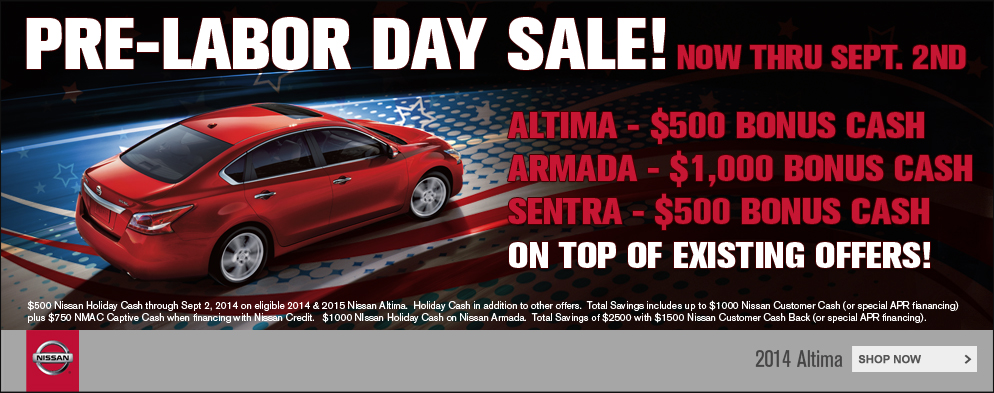 Labor Day Bonus Cash at O'Neil Nissan