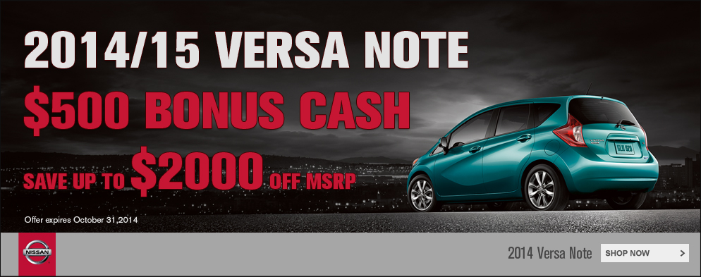 2014 Versa Note Bonus Cash