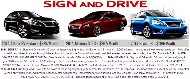 Featured Nissan leases this September