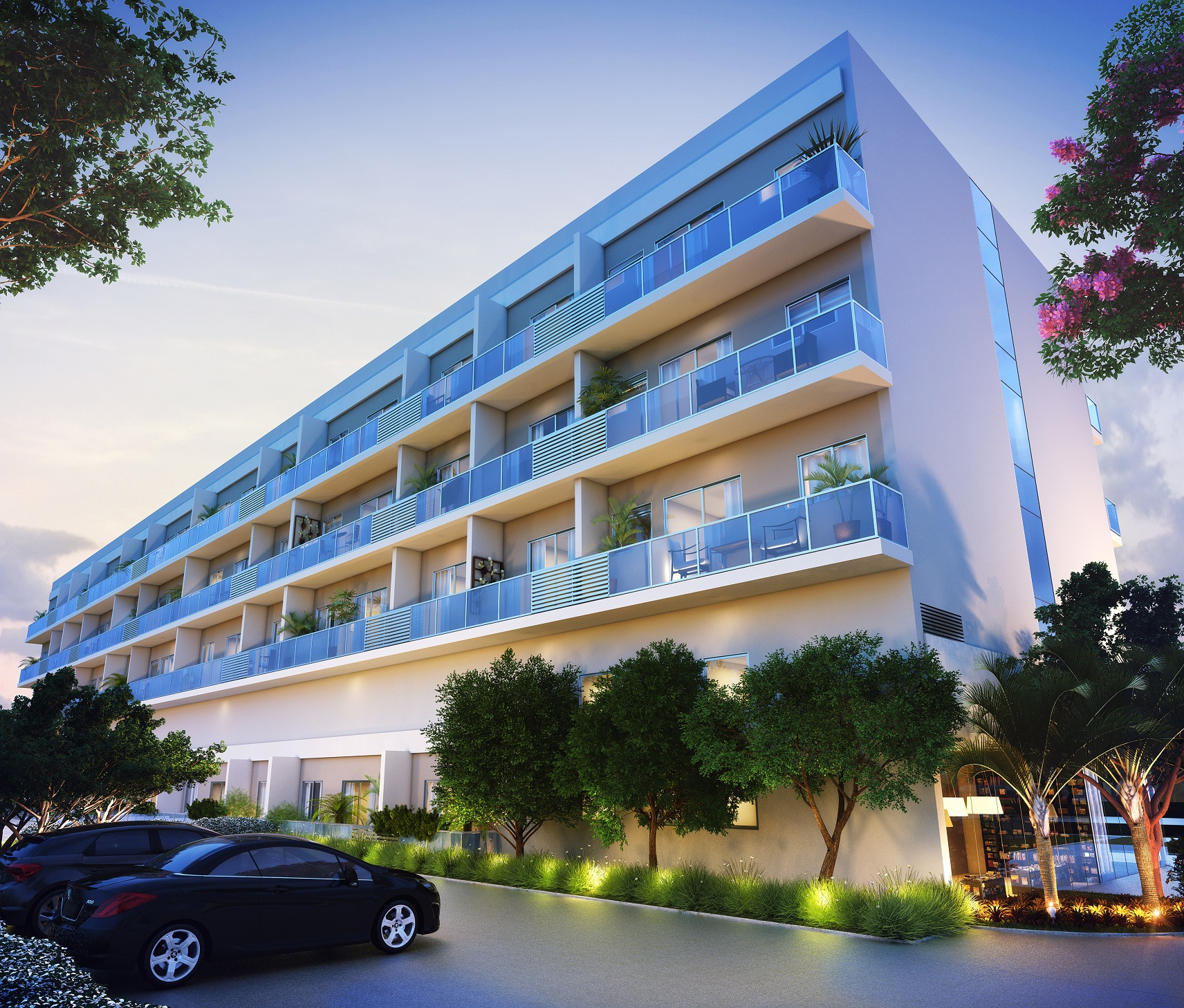 Fachada noturna Neolink Stay Apartments
