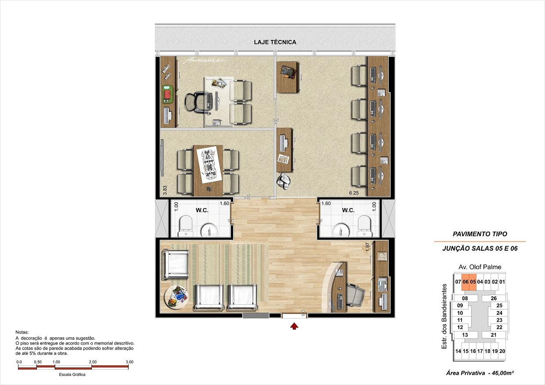 Junção de 2 salas com 46m²
