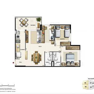 Opção sala ampliada - 71,25m²