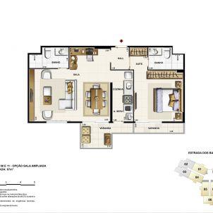 Opção sala ampliada - 67m²