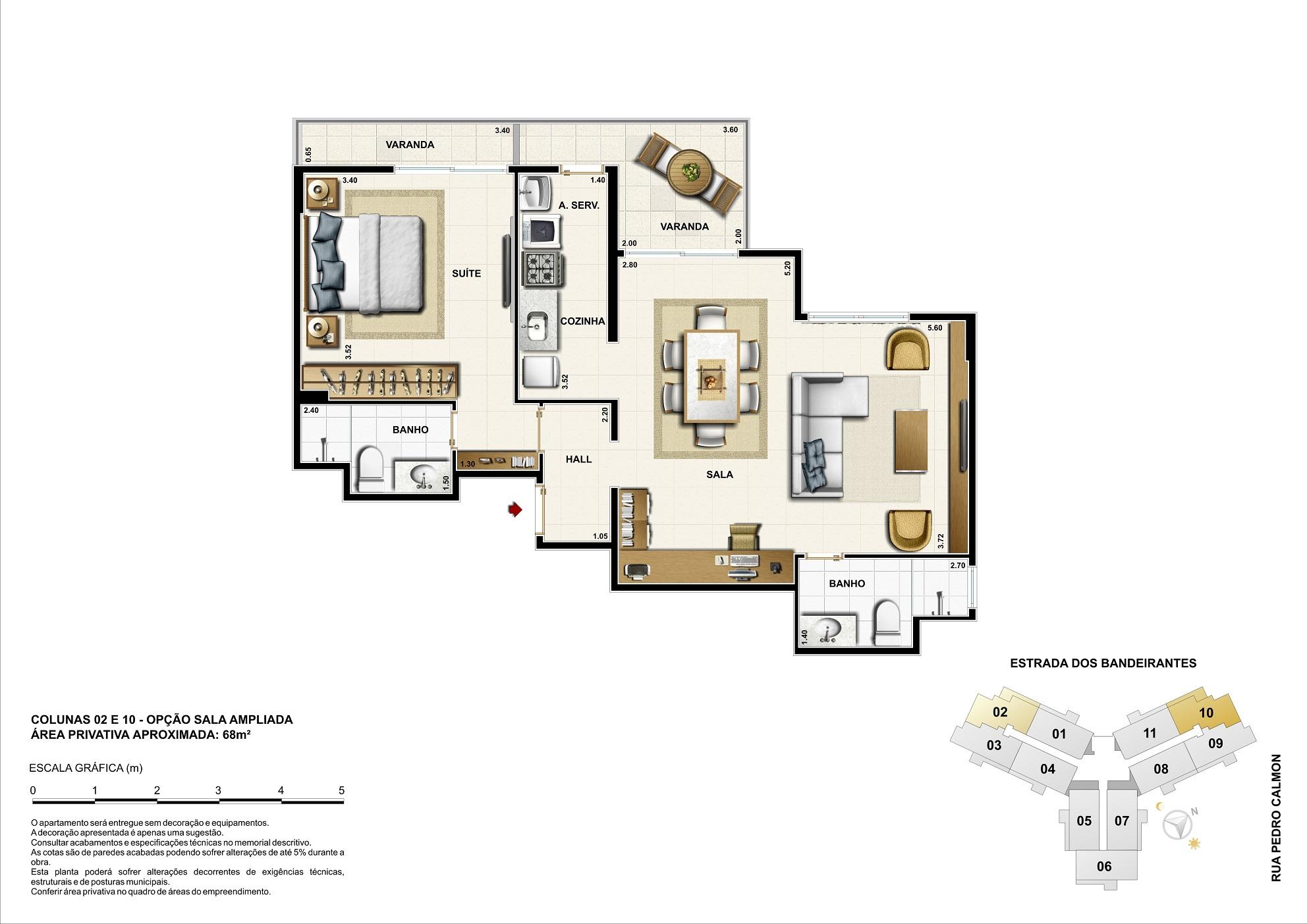 Opção sala ampliada - 68m²