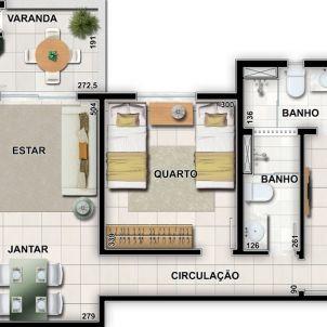 2 Quartos com suíte e varanda gourmet - 71,96 m²