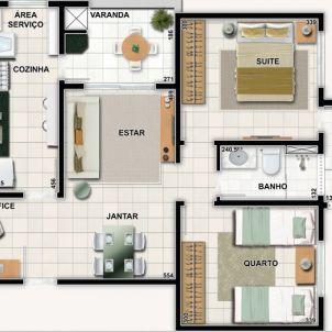 2 Quartos com suíte e varanda gourmet - 69,76 m²