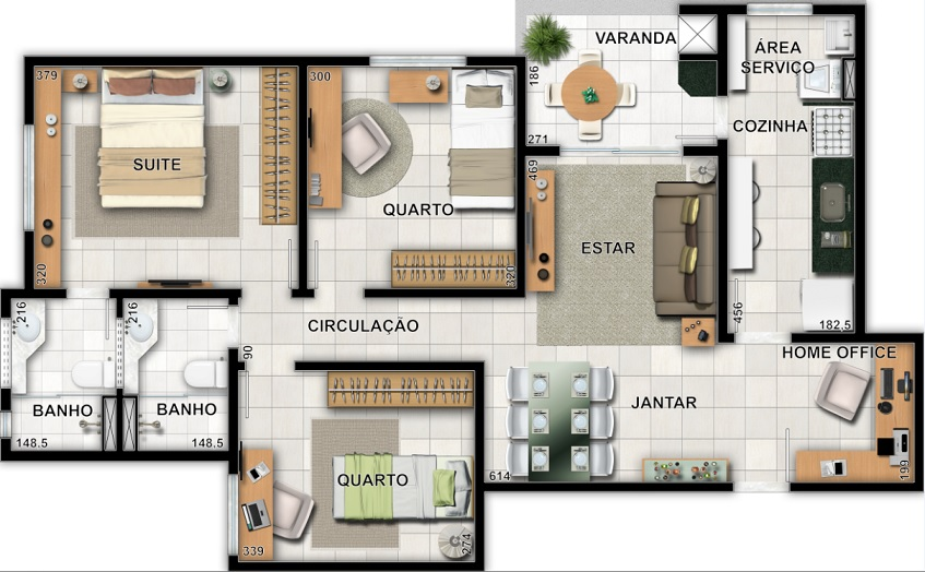3 Quartos com suíte e varanda gourmet - 86,01m²