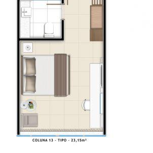 Suíte Tipo - 23 m²
