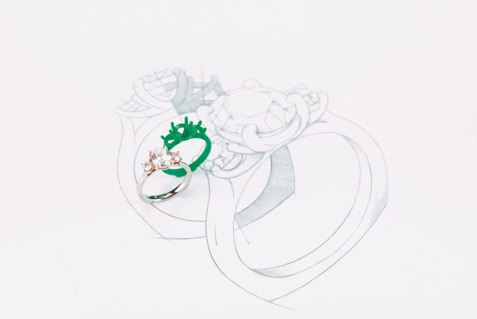 CAD design computer design custom engagement ring wax render