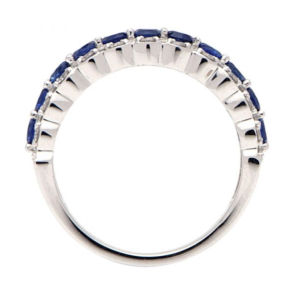 Sapphire and Diamond 3-row anniversary band Ring side view