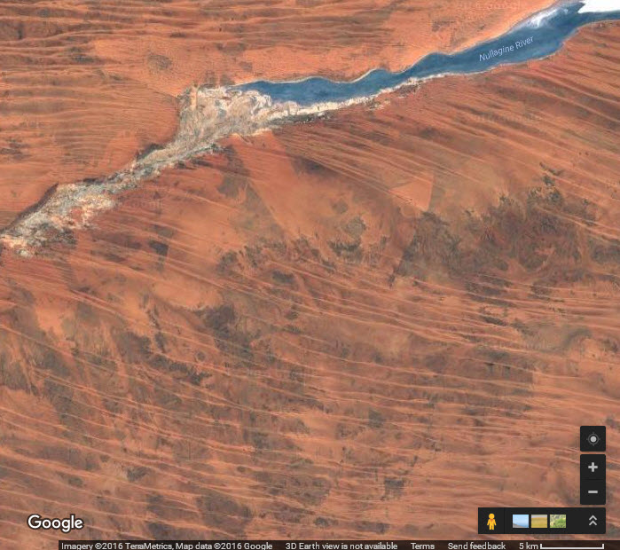 Satellite image of parrell sand dunes covered in spinifex grass in the Pilbara