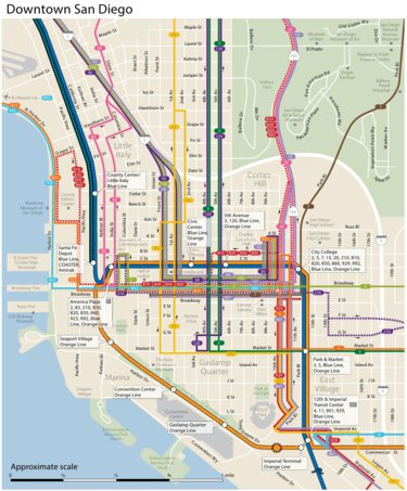 San Diego Map Downtown.Downtown San Diego Transit Avenza Systems Inc Avenza Maps