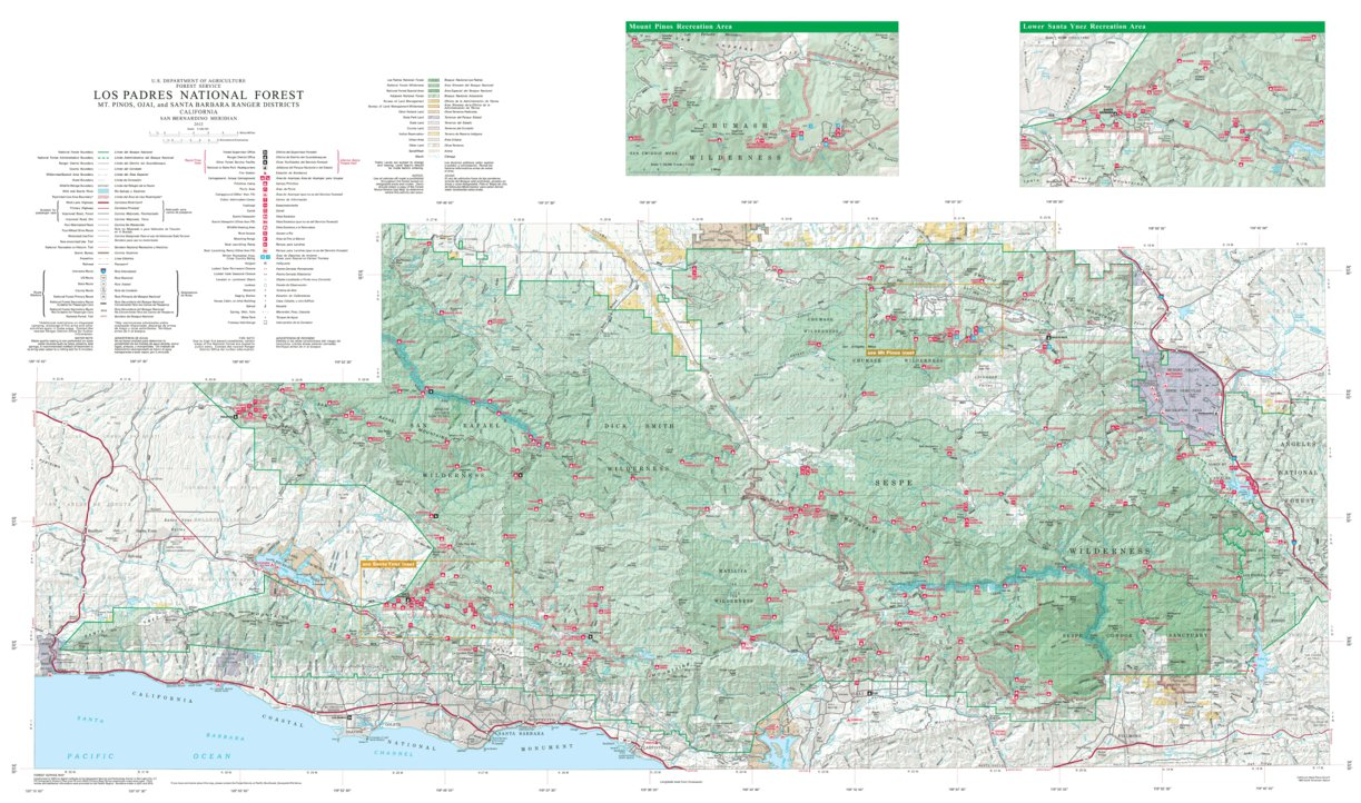 Los Padres National Forest Map Los Padres National Forest Visitor Map (South)   US Forest Service