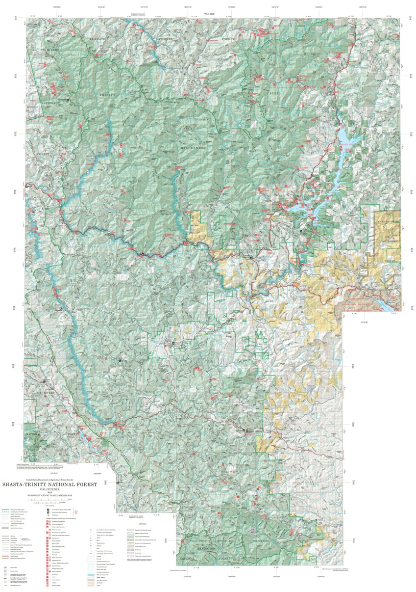 Shasta-Trinity National Forest Visitor Map - West (2010) - US Forest ...