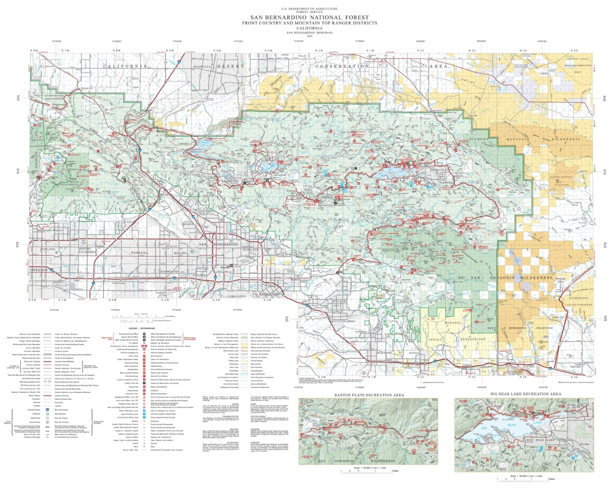 San Bernardino National Forest Visitor Map - North (2009 ... on moreno valley map, rancho cucamonga map, palm springs map, south coast metro map, downtown l.a. map, downieville map, banning map, imperial valley map, bernardino county map, santa clara map, riverside map, sacramento map, desert cities map, mission gorge map, sonoma co map, ventura county map, mt. san antonio map, brigham city map, canyon crest map, fontana map,