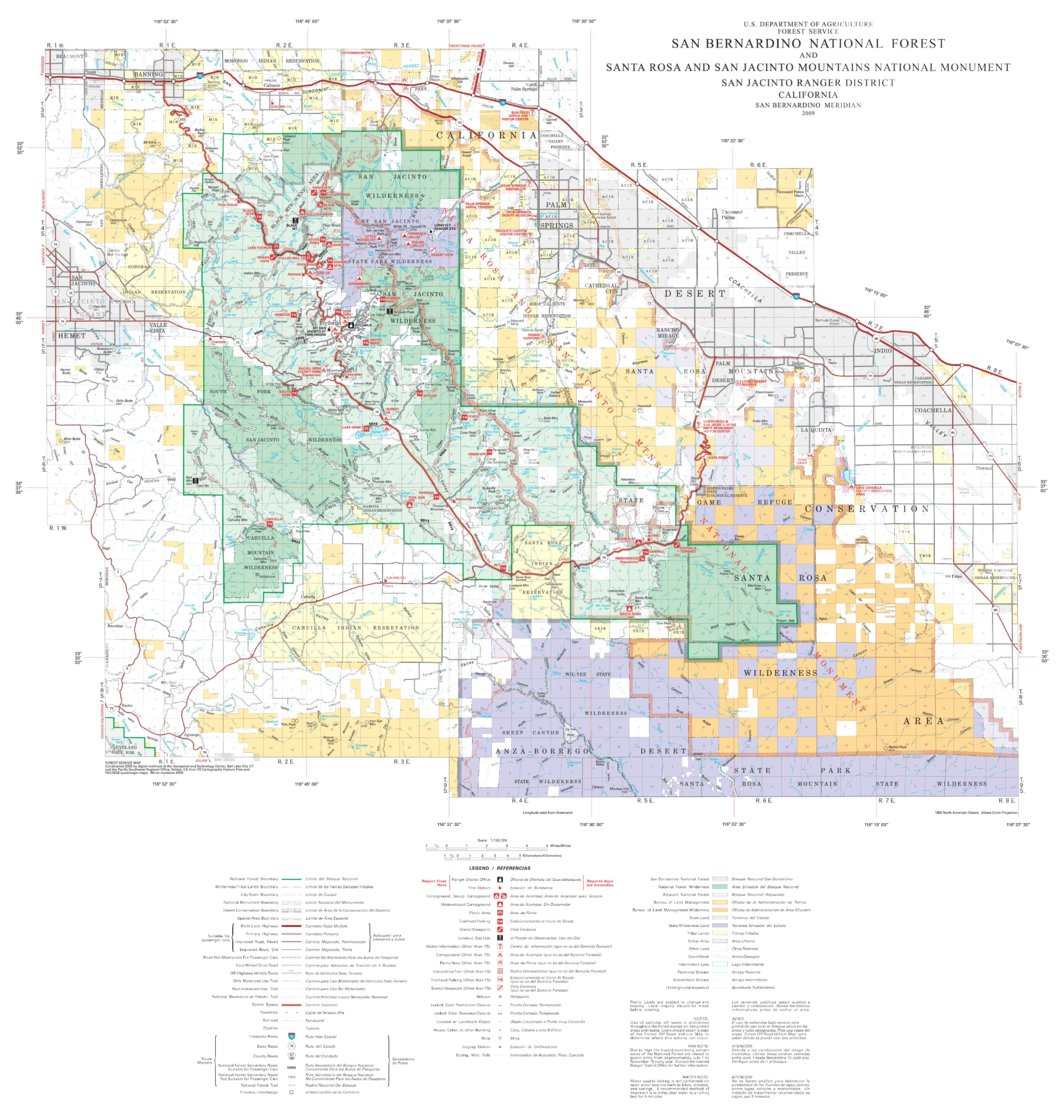 San Bernardino National Forest Visitor Map - South (2009) - US ...