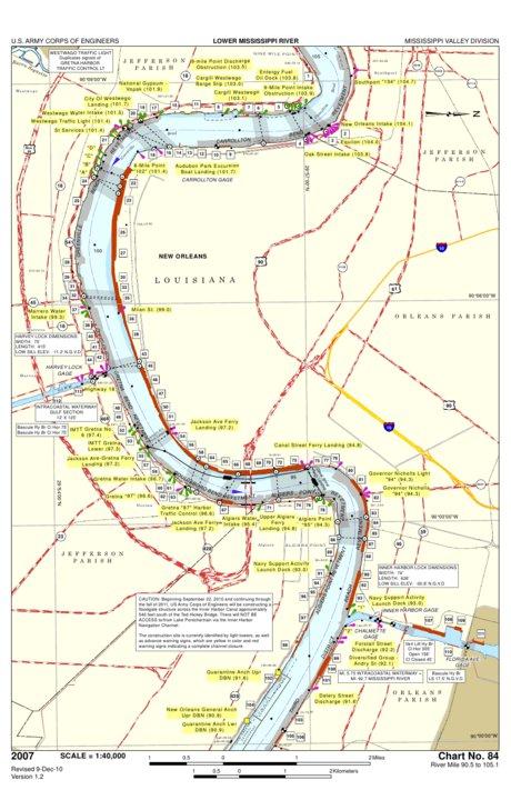 Mississippi River Chart 84, River Mile 90.5 - 105.1 - US ...