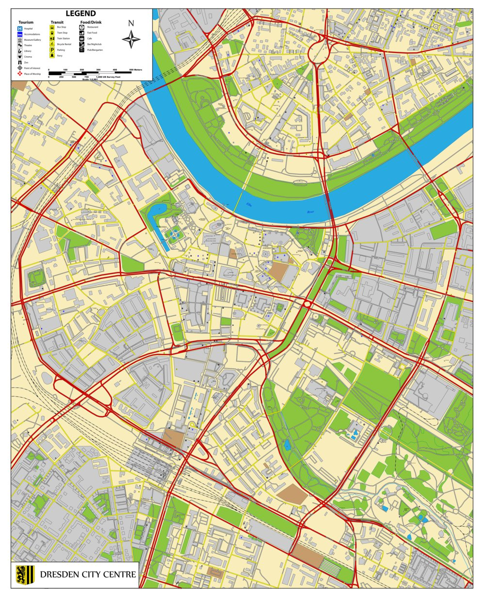 Dresden Germany City Centre Perspective Maps Avenza Maps