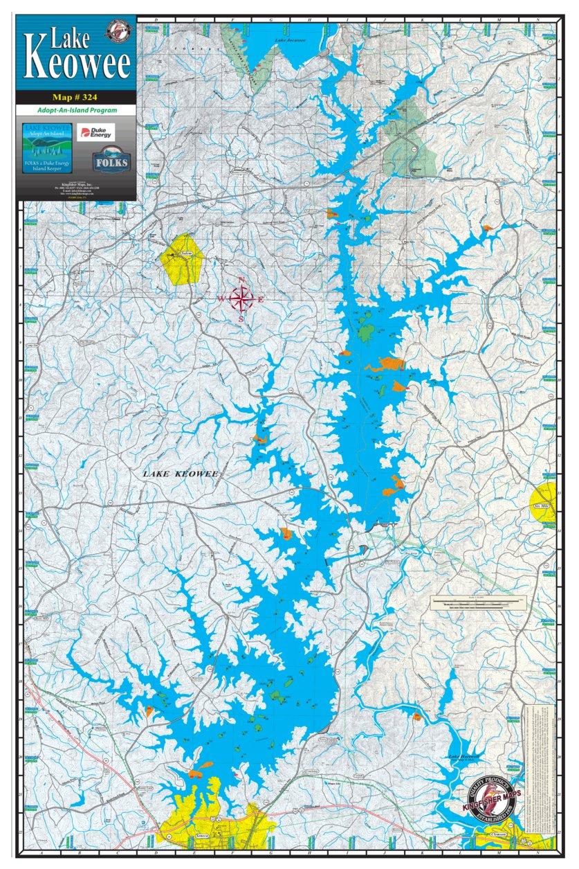 map of lake keowee Keowee Adopt An Island Kingfisher Maps Inc Avenza Maps map of lake keowee
