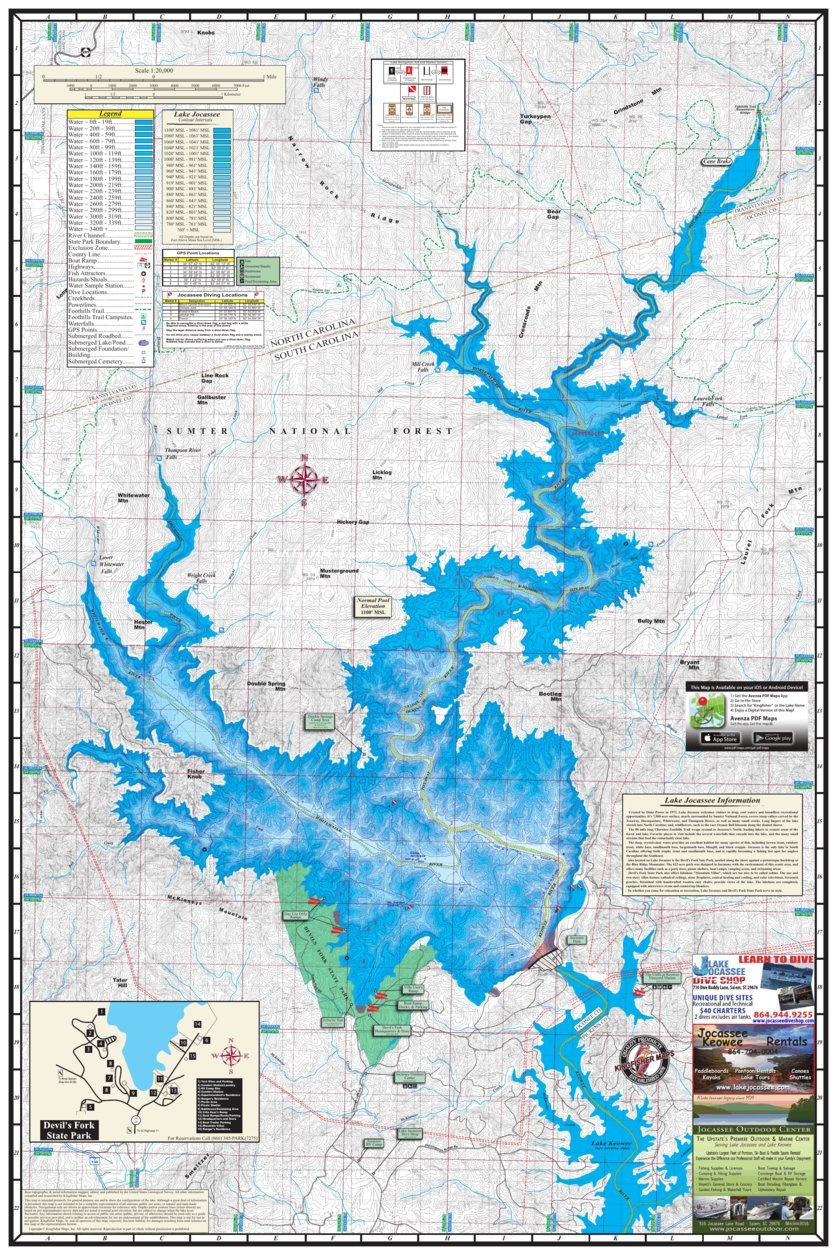 Lake Jocassee Map 1600 Lake Jocassee   Kingfisher Maps, Inc.   Avenza Maps Lake Jocassee Map