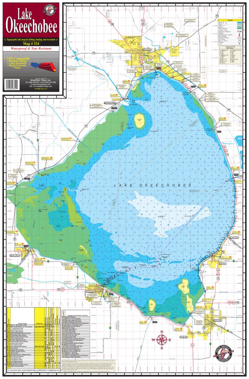 lake okeechobee depth map 334 Lake Okeechobee Kingfisher Maps Inc Avenza Maps lake okeechobee depth map