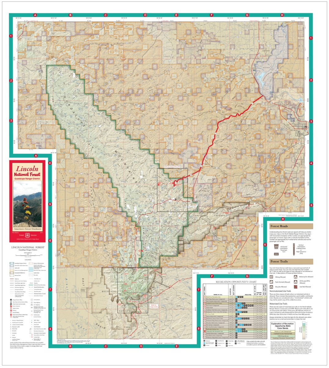 Lincoln National Forest Visitor Map Guadalupe Ranger District US