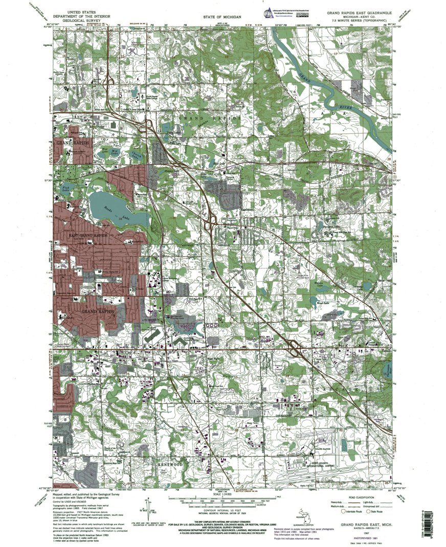 Mi Grand Rapids East Authoritative U S Topo 1965 Western Michigan University Avenza Maps