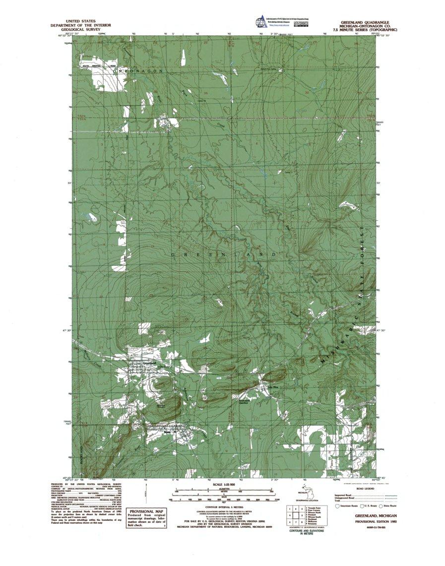 MI-Greenland: Authoritative US Topos 1982 - Western Michigan ...