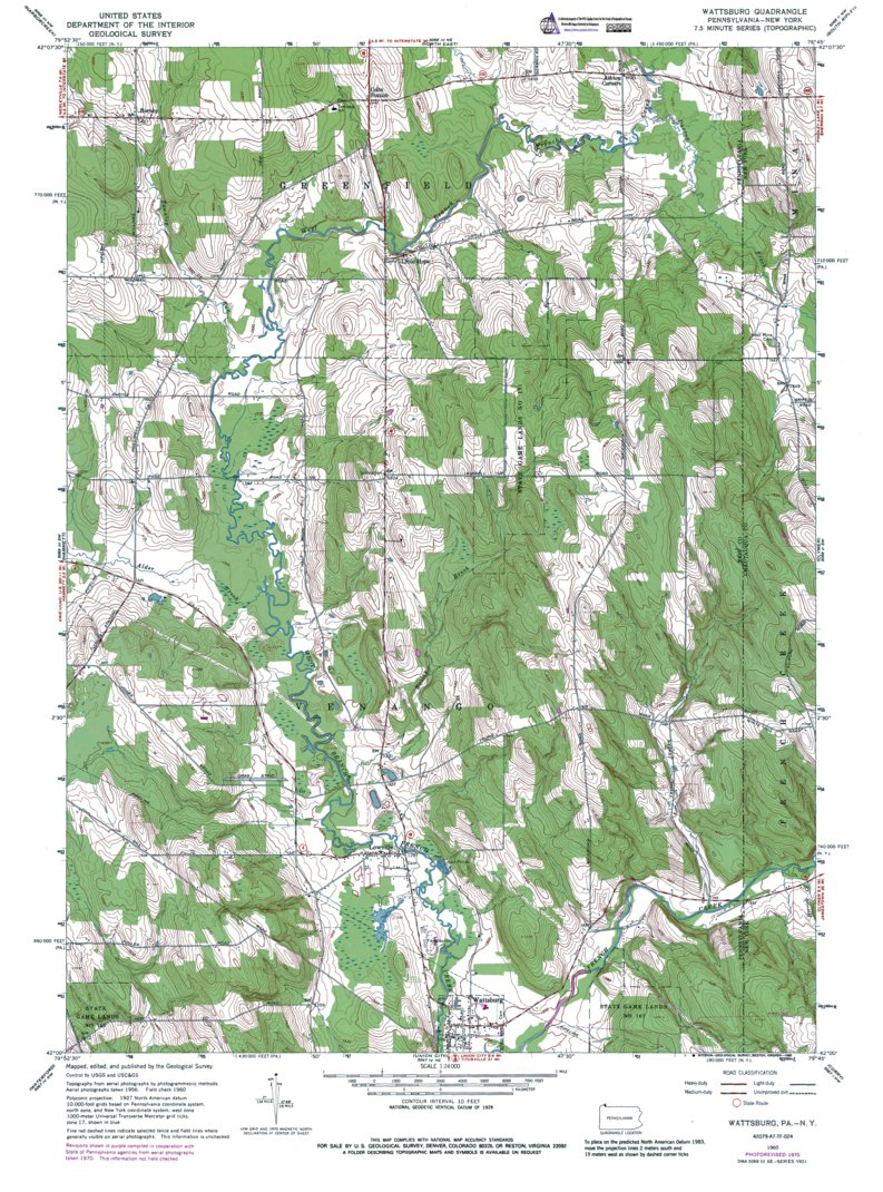 PA-NY-Wattsburg: Authoritative US Topos 1960 - Western Michigan ...