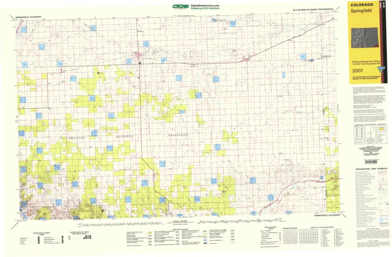 Springfield Colorado Map.Springfield Co Blm Surface Mgmt Digital Data Services Inc
