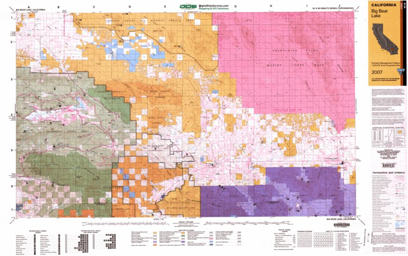 Map Of California Blm Land.Big Bear Lake Ca Blm Surface Mgmt Digital Data Services Inc