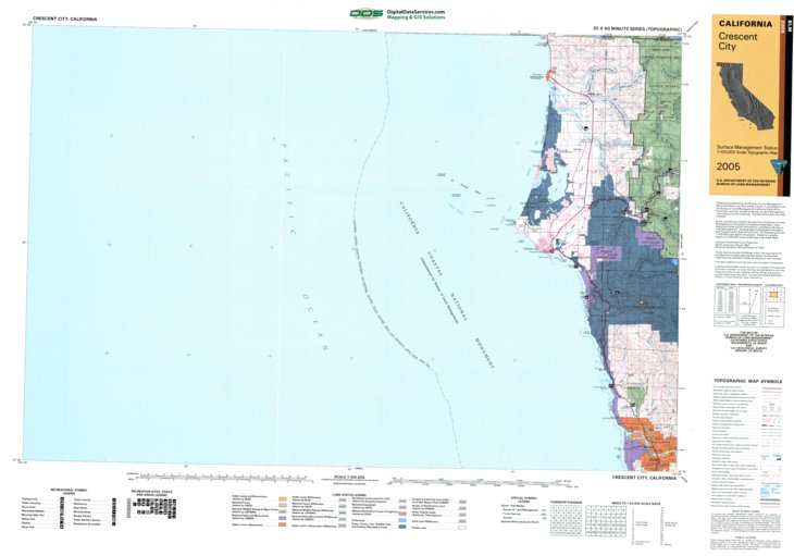 Crescent City, CA - BLM Surface Mgmt. - Digital Data ... on san joaquin river ca map, tucson ca map, sonora ca map, wildwood ca map, la conchita ca map, anchor bay ca map, ukiah ca map, fort bragg ca map, eureka ca map, redding ca map, redwood national park map, fresno ca map, astoria ca map, walker ca map, humboldt ca map, yreka ca map, gold beach ca map, fort tejon ca map, san francisco ca map, susanville ca map,