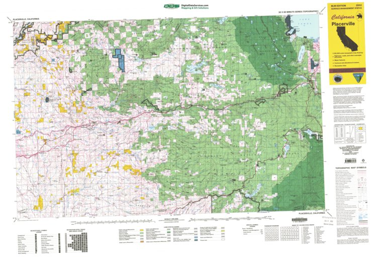 Placerville California Map.Placerville Ca Blm Surface Mgmt Digital Data Services Inc