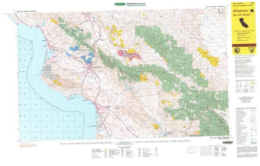 Map Of California Blm Land.San Luis Obispo Ca Blm Surface Mgmt Digital Data Services Inc
