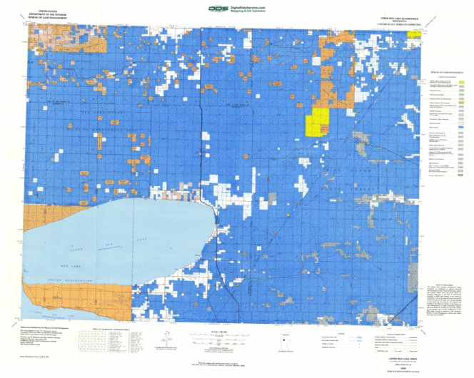 Red Lake Minnesota Map.Upper Red Lake Mn Blm Surface Mgmt Digital Data Services Inc