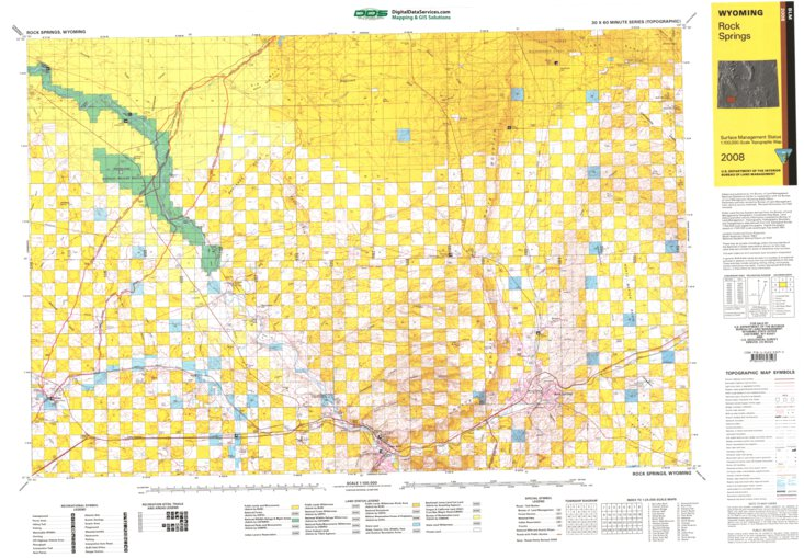 Rock Springs Wyoming Map.Rock Springs Wy Blm Surface Mgmt Digital Data Services Inc