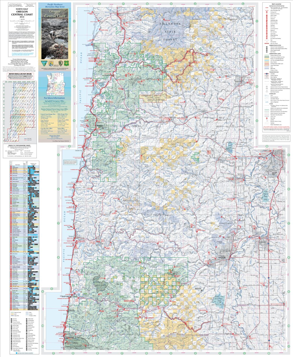 Oregon Central Coast Recreation Map North US Forest Service R6