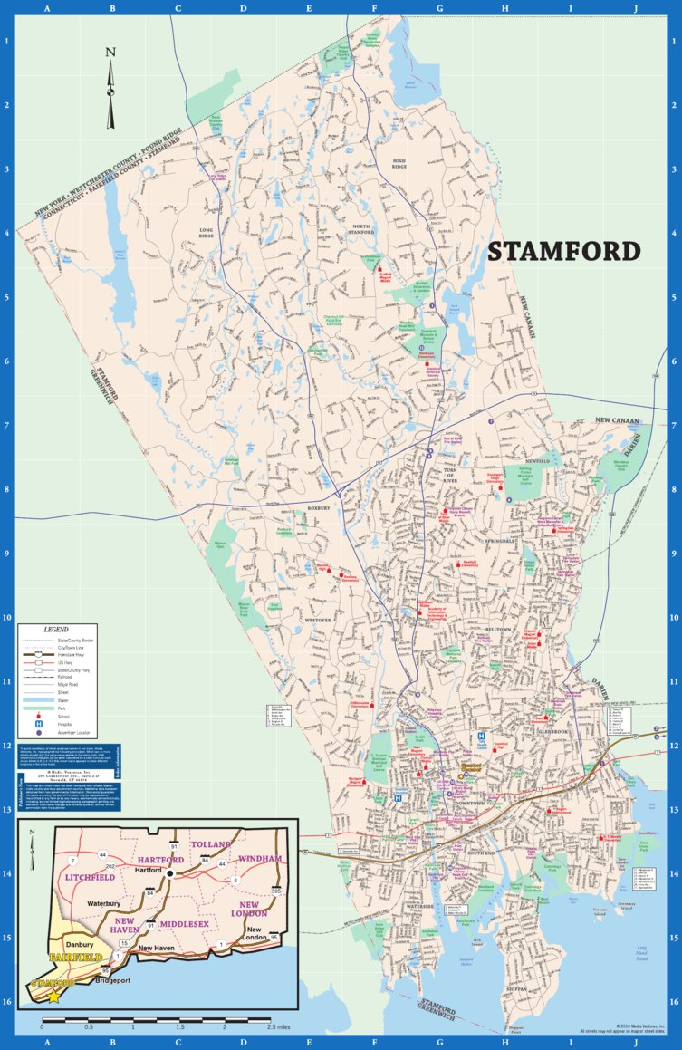 Map Of Stamford Ct Stamford CT Foldout Map   Media Ventures, Inc   Avenza Maps