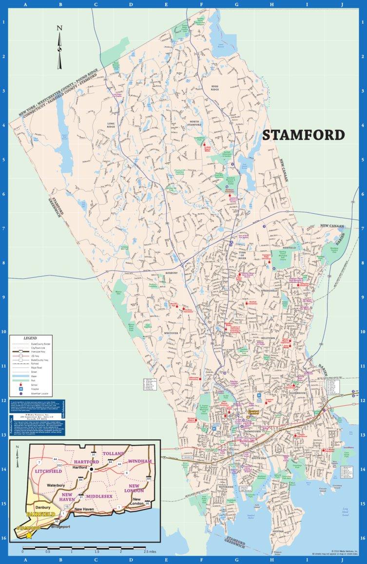 stamford ct foldout map. avenza maps