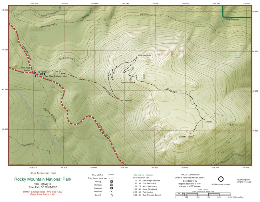 Deer Mountain Trail Map - cloudhiking.com - Avenza Maps