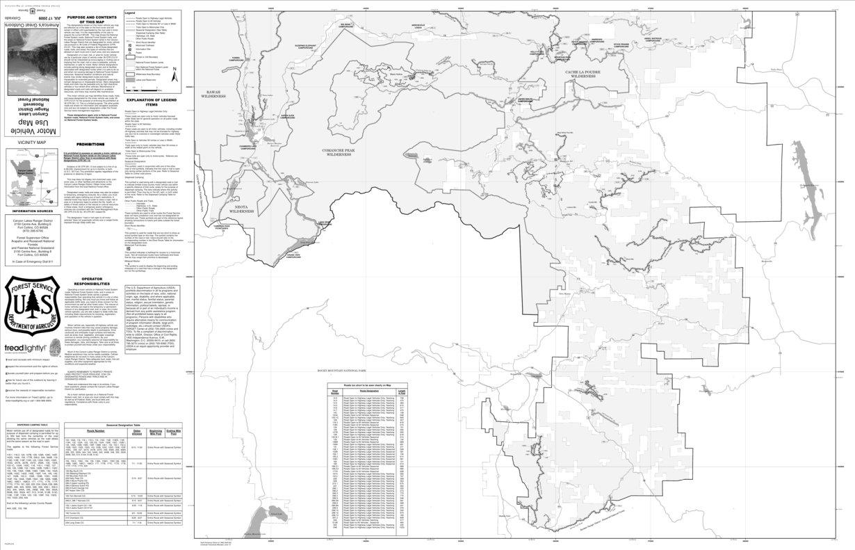 Canyon Lakes Ranger District MVUM South US Forest Service